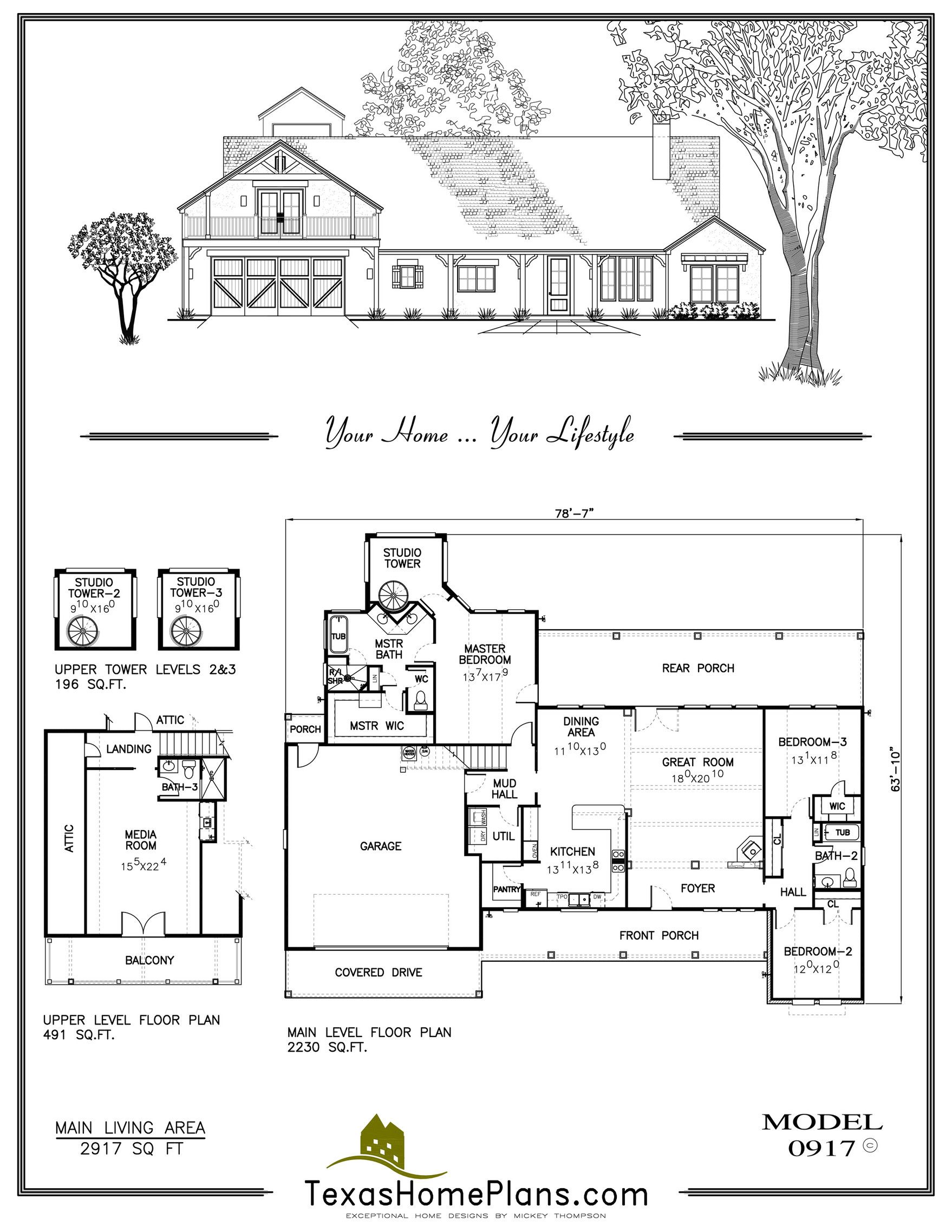 3br 3b 2500 3000 0917 Porch And Balcony Three Bedroom House Plan Bedroom House Plans