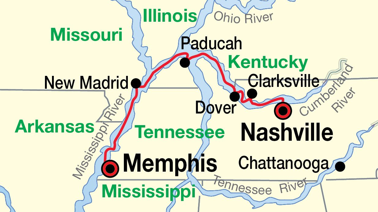 Us Map Nashville.Memphis Nashville Cruise Map United States Mississippi River