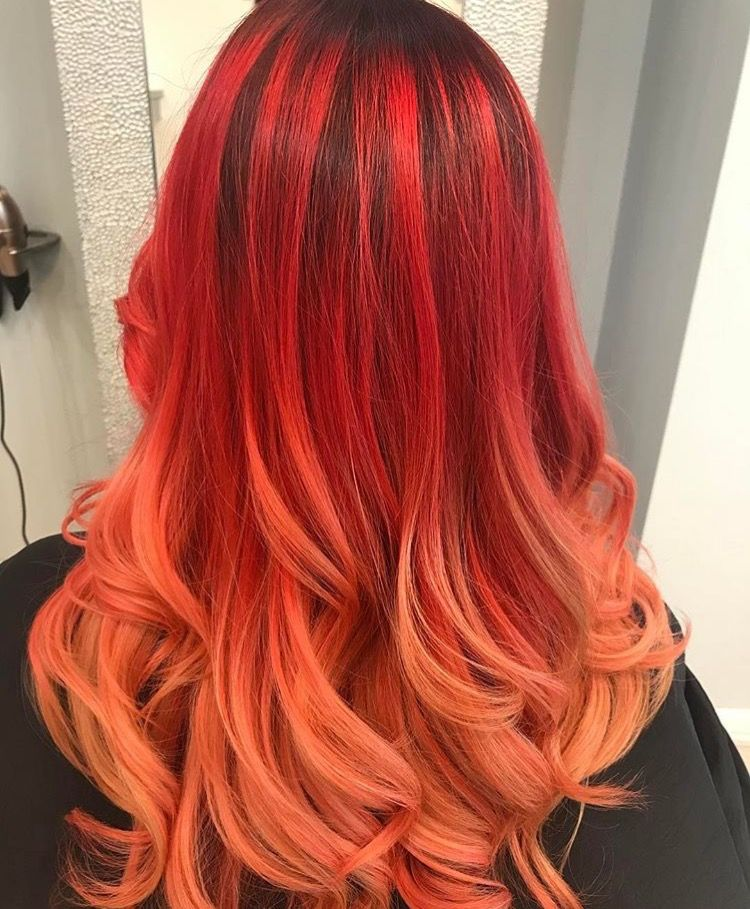 Red and orange balayage Ombré Pravana Colour melting Red hair Fire orange  Coral Blush blonde