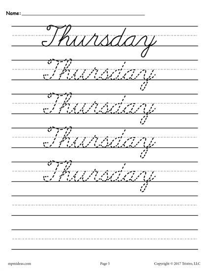 7 Days Of The Week Cursive Handwriting Worksheets! Cursive Handwriting  Worksheets, Cursive Worksheets, Cursive Handwriting Practice