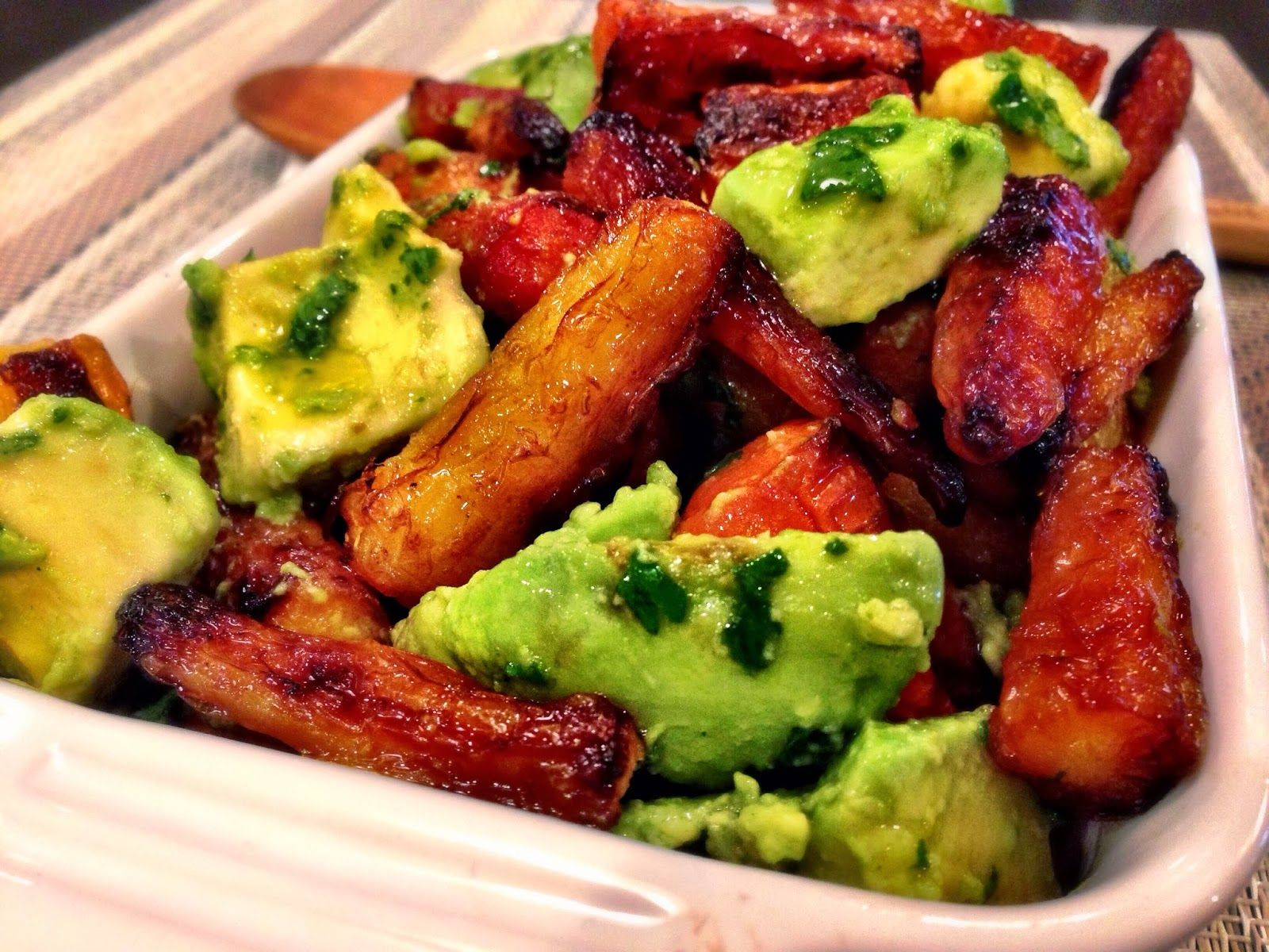 Roasted Rainbow Carrots and Avocado Salad with Cilantro Pesto Dressing - Kale With Love