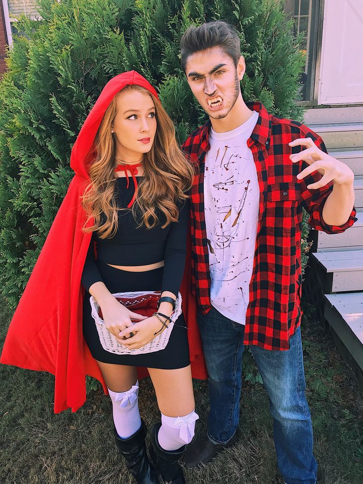 DIY couple Halloween costume little red riding hood and big