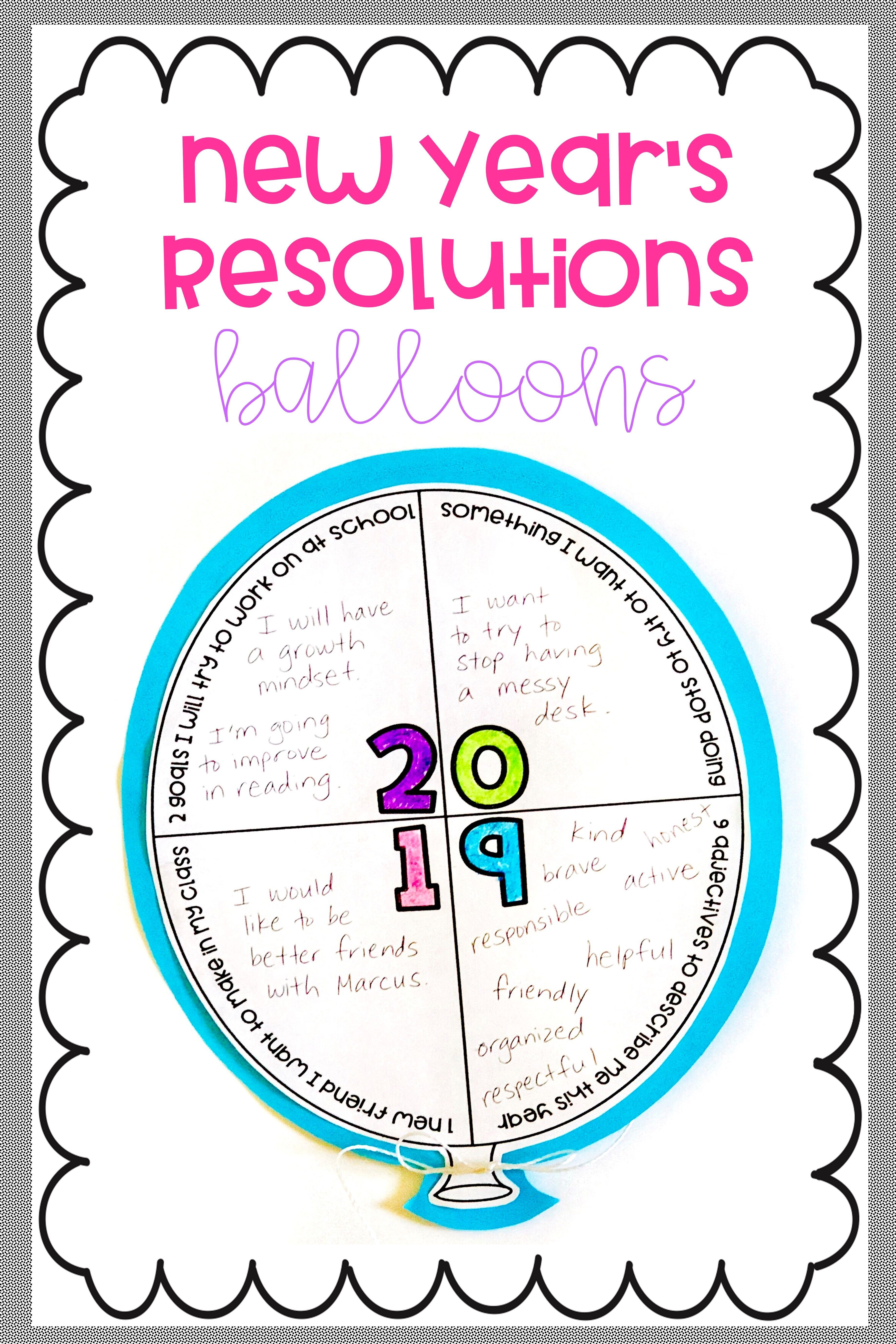 New Year S Resolutions 2020 Balloon Craftivity And Bulletin Board Letters New Years Resolution Teacher Favorite Things Classroom Life