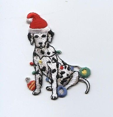 Embroidered Iron On Patch Christmas Lights Christmas Dalmatian Dog