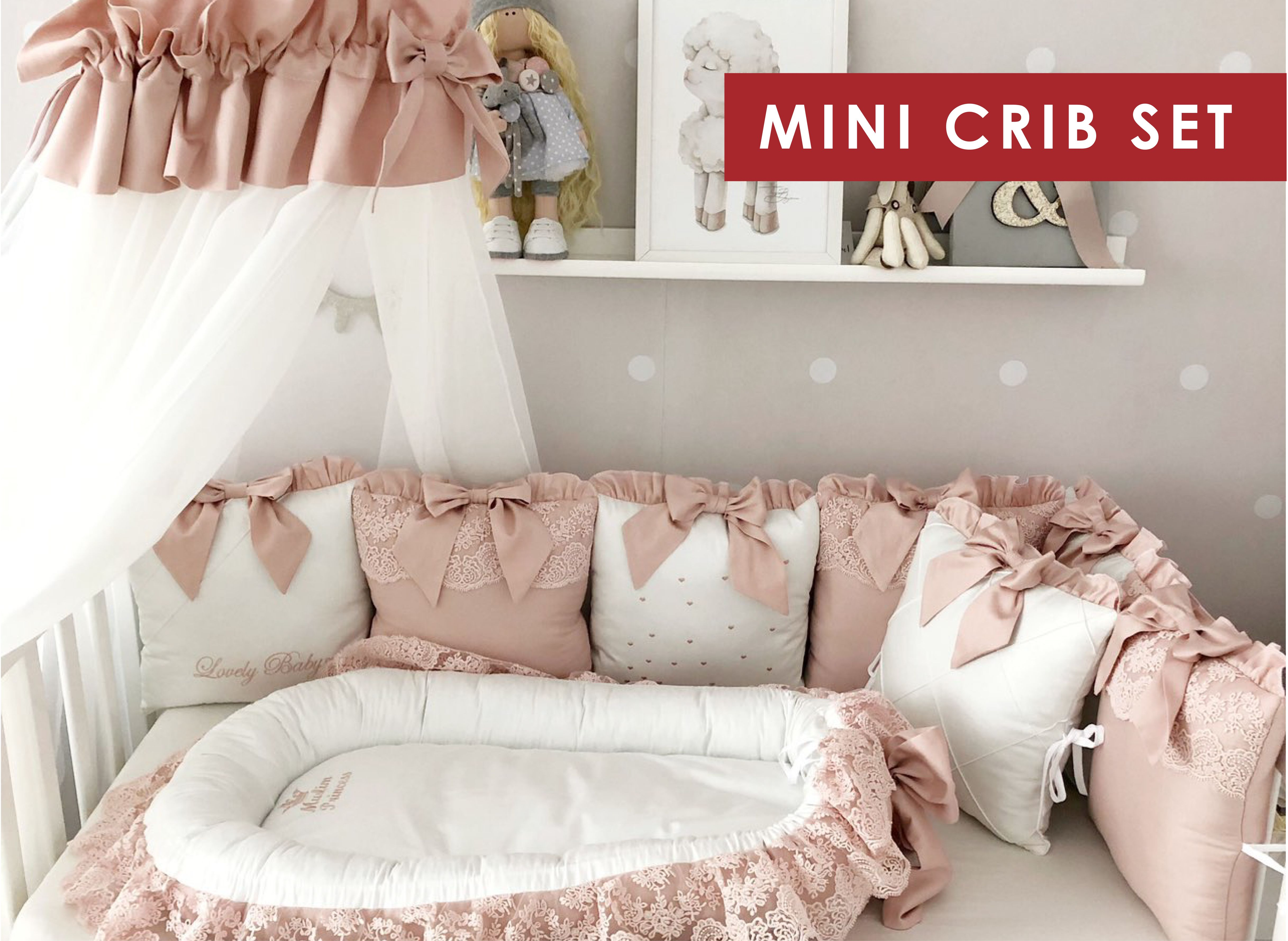Baby Girl Bedding Crib Set Cot Bedding Set For Girl Personalized Baby Bedding Deluxe Baby Nest Baby Sleeper Bumper Pads Receiving Blanket Mini Crib Bedding Crib Bedding Girl Baby Girl