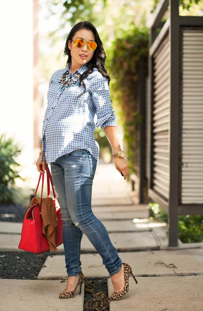 914b8ff71590b cute & little blog | petite fashion | maternity baby bump pregnant fall  style | tan cardigan, gingham shirt, distressed jeans, leopard pumps, ...