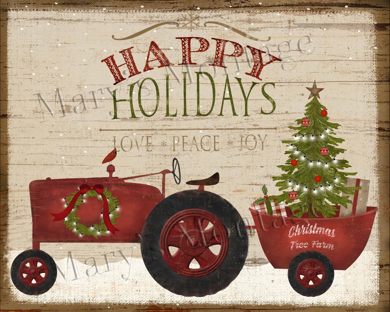 PRINT ONLY 8x10 Primitive Folk Christmas Tree Tractor Wagon Happy Holidays