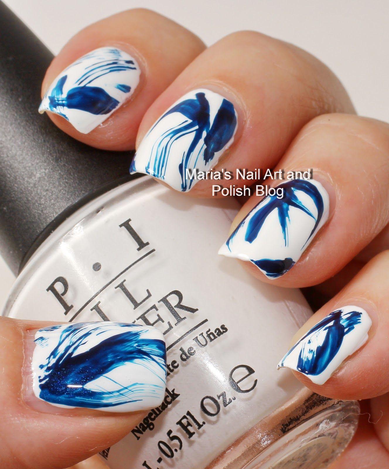 Blue And White Brush Stroke Nail Art