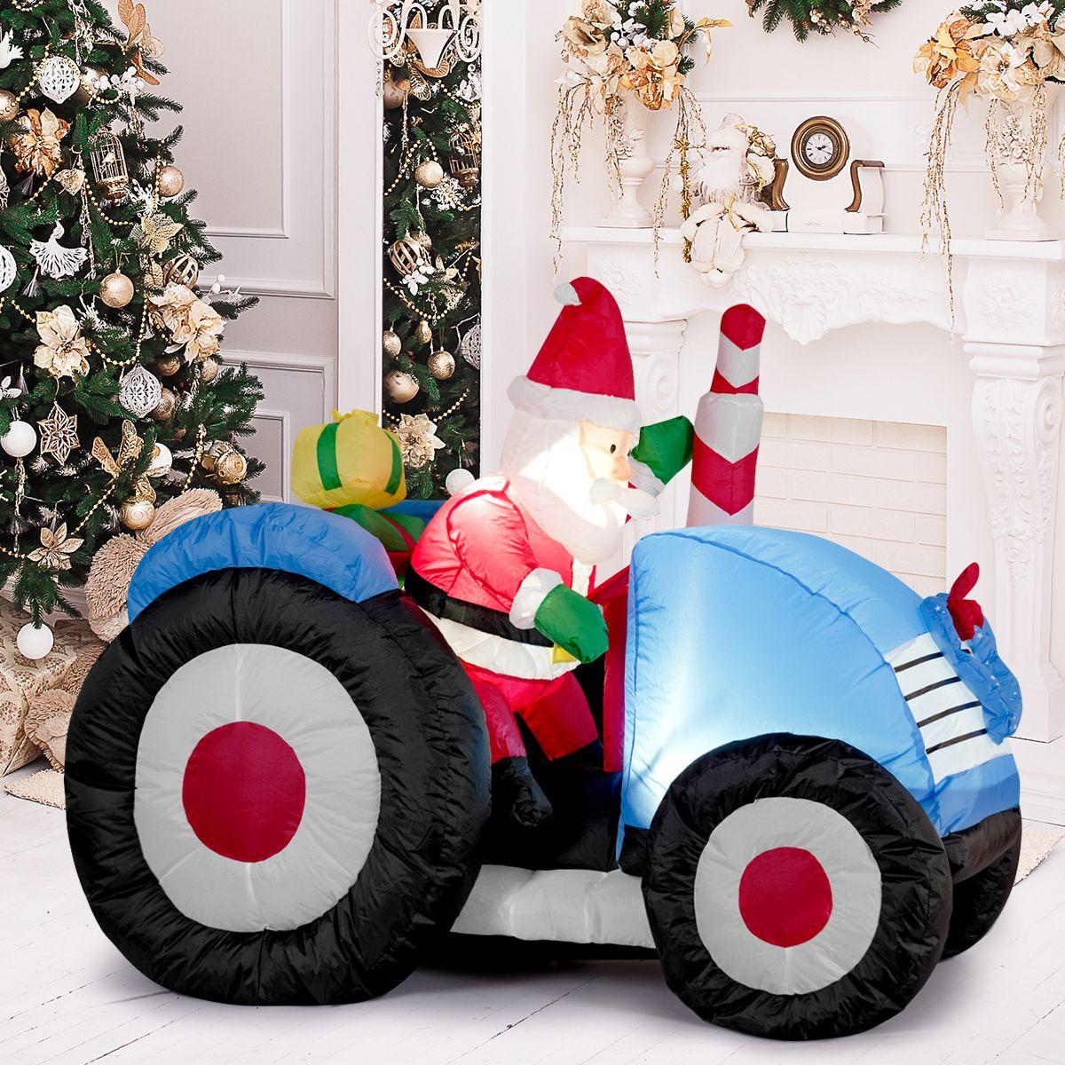 Pere Noel Led Costway Père Noël Gonflable 170CM sur Camion avec 2 Piquets de