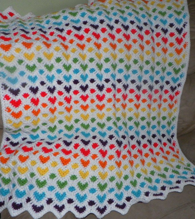 Sweetheart Ripple Afghan Crochet Pattern Free | Projects to try ...