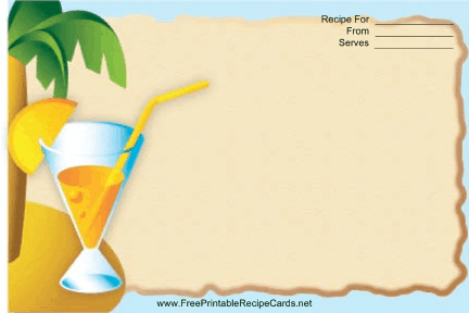 This Palm Tree Drink Blue Recipe Card features a colorful orange drink with a palm tree in the background and a blue border. Free to download and print