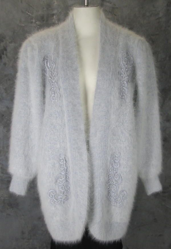 Lee Sands Soft Gray Super Fuzzy Angora Blend Open Cardigan Sweater ...