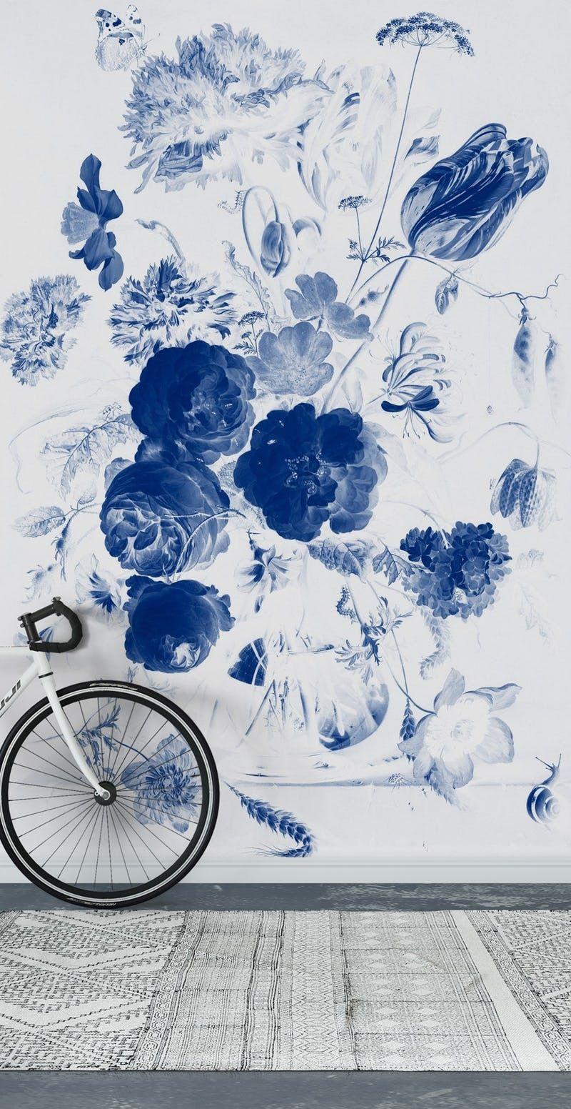 Blue flowers Wall Mural / Wallpaper Flowers #blueflowerwallpaper