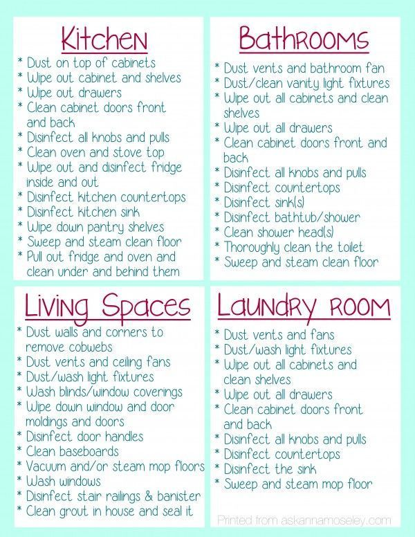 A check list for what to clean in your house before you move in - sample new apartment checklist