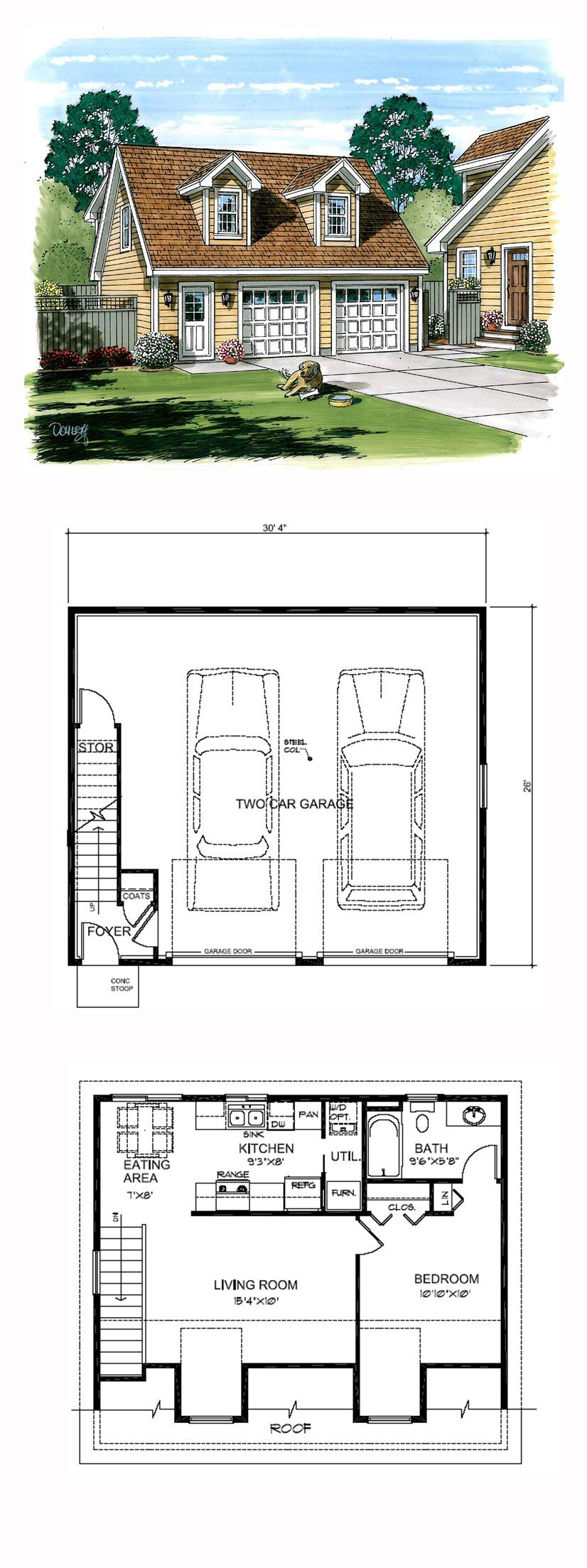 Garage apartment plan 30030 total living area 687 sq for 1 bedroom garage apartment