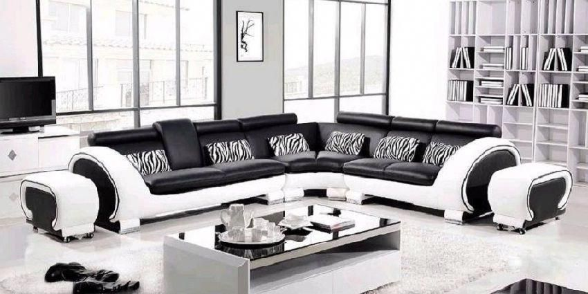 Modern Italian Black White Corner Leather Sofa Suite Striped Furniture Sofa Styling Black And White Sofa