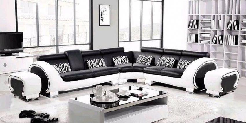 Modern Italian Black White Corner Leather Sofa Suite Black And