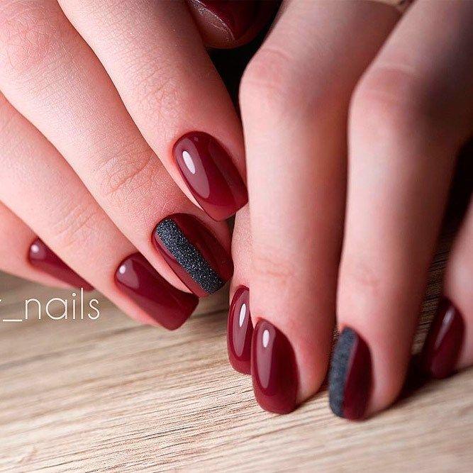 Burgundy nail varnish - Gel Polish Nail decoration 2018   Nail ...