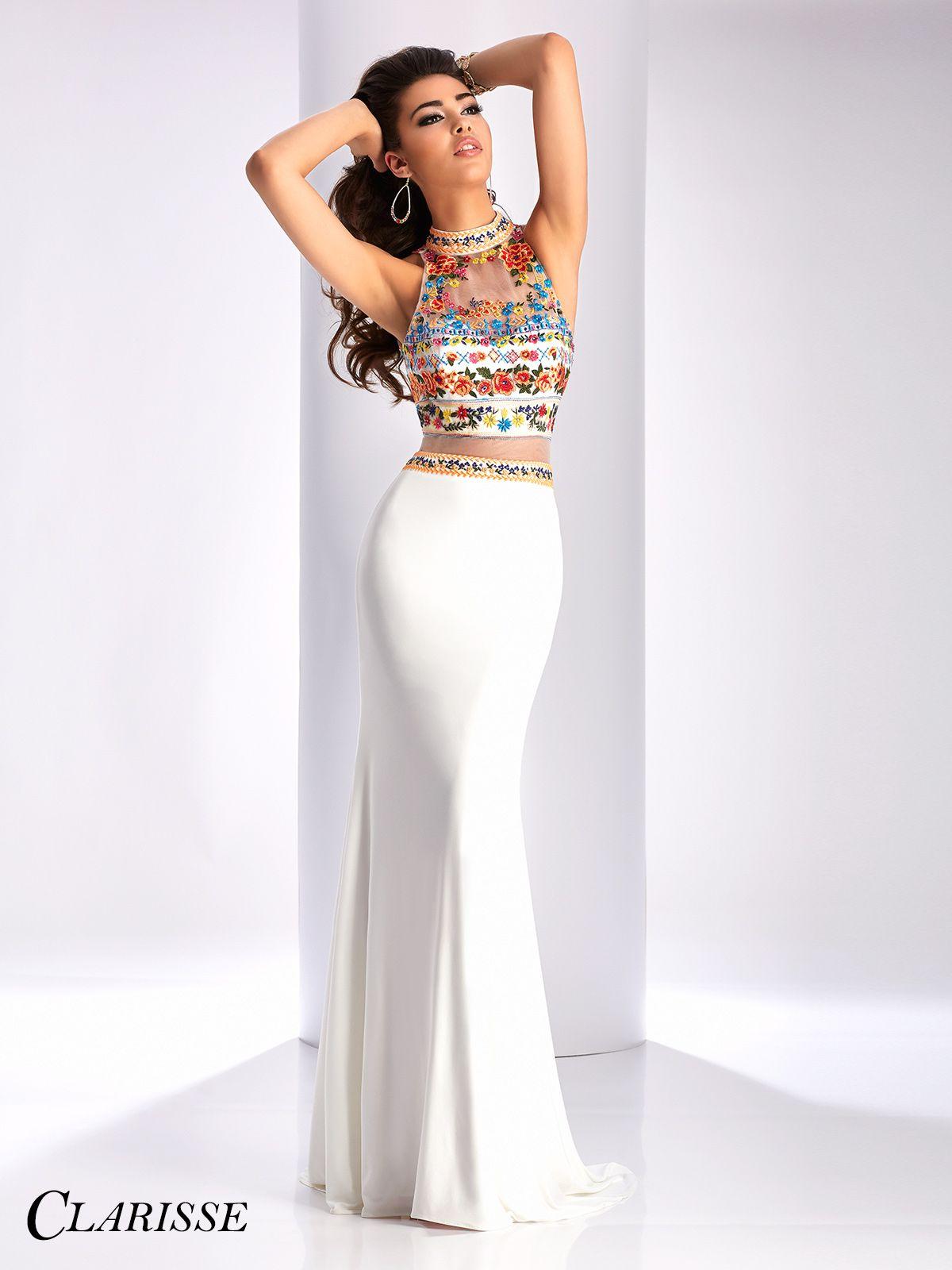 Clarisse Embroidered High Neck Prom Dress 3055   Schonen und Kleider