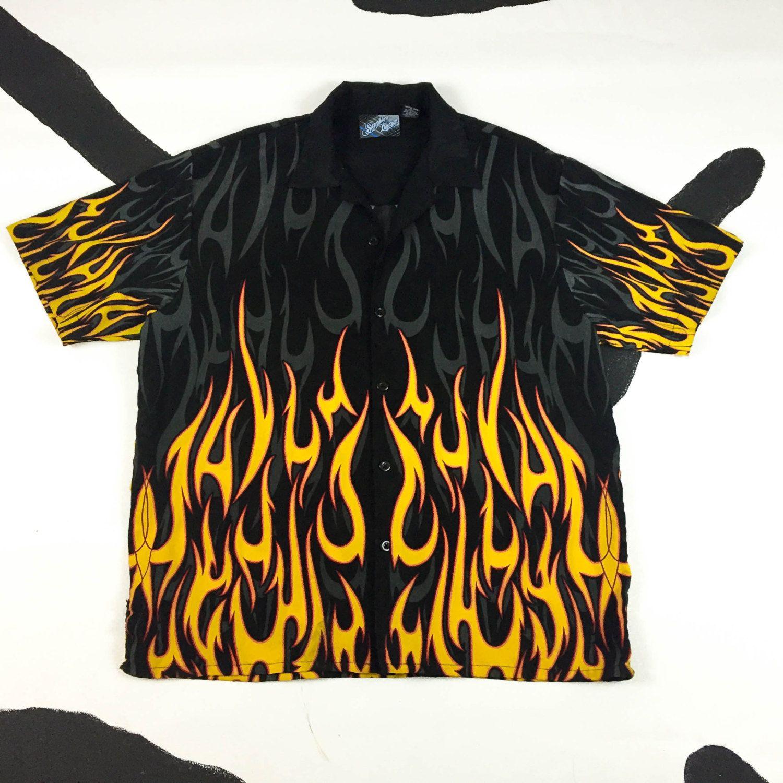 90s flame gradient button down shirt y2k vaporwave