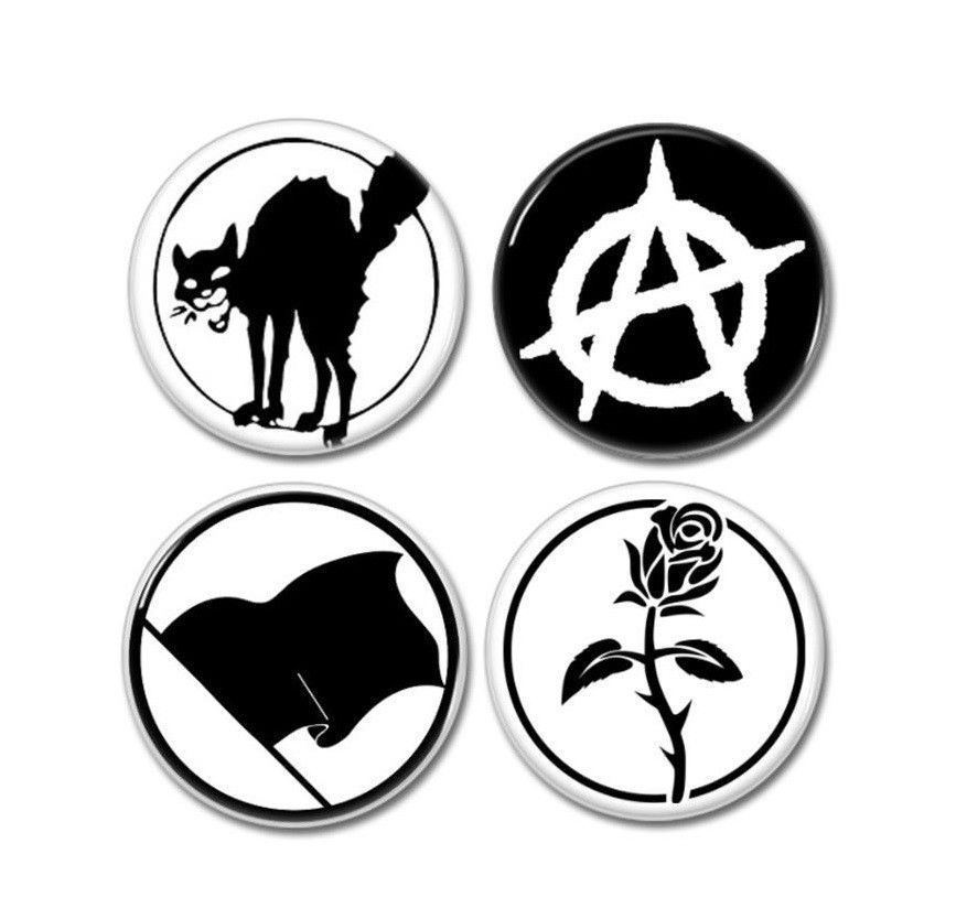 4 X Anarchy Symbol Buttons 25mm Badges Pins In 2021 Anarchy Symbol Anarchy Symbols