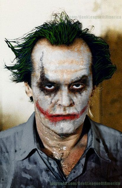 jack nicholson in heath ledger 39 s makeup joker. Black Bedroom Furniture Sets. Home Design Ideas
