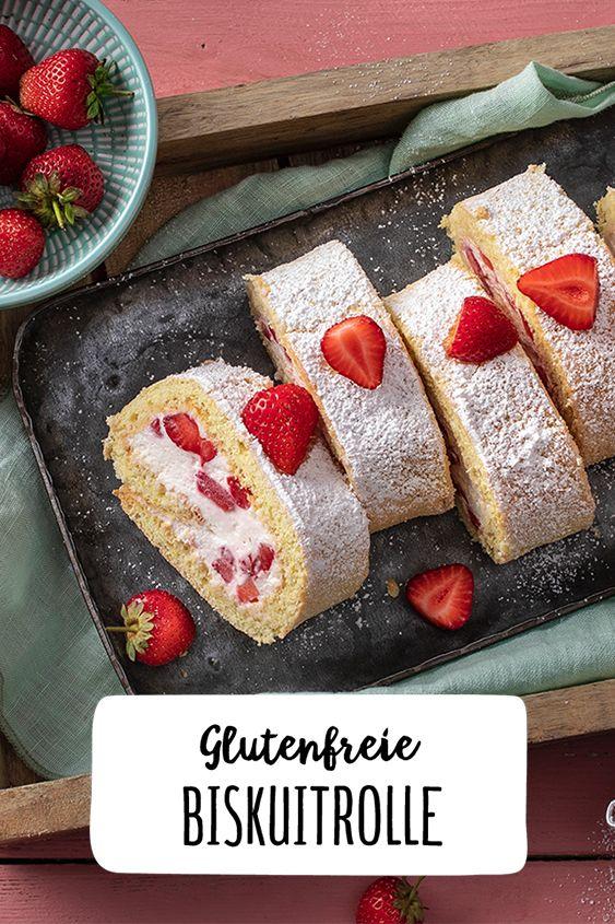 Glutenfreie Biskuitrolle mit Erdbeeren – Glutenfrei Leben