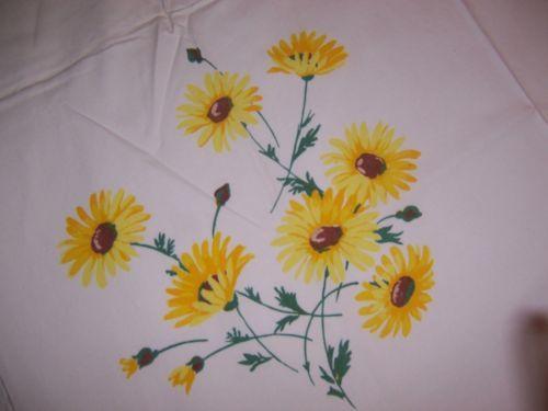 Vintage Wilendur Painted Daisy Tablecloth Perfect   EBay