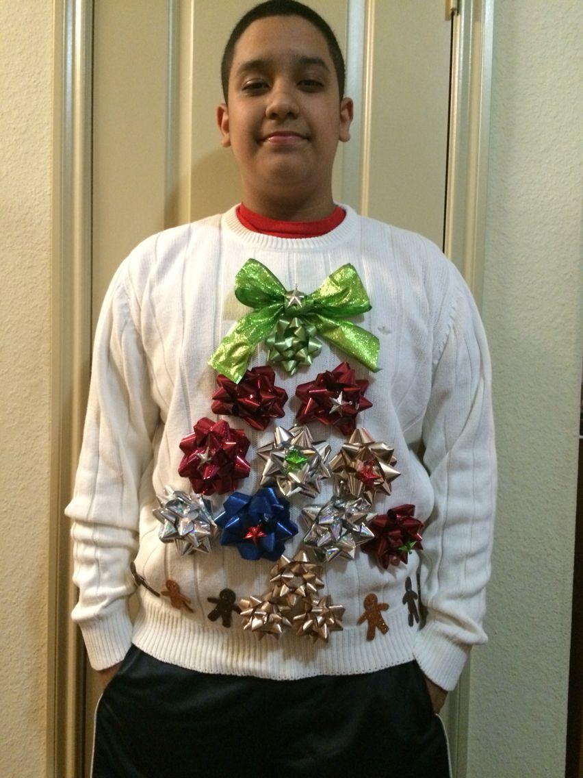 Homemade ugly Christmas sweater. Homemade ugly christmas