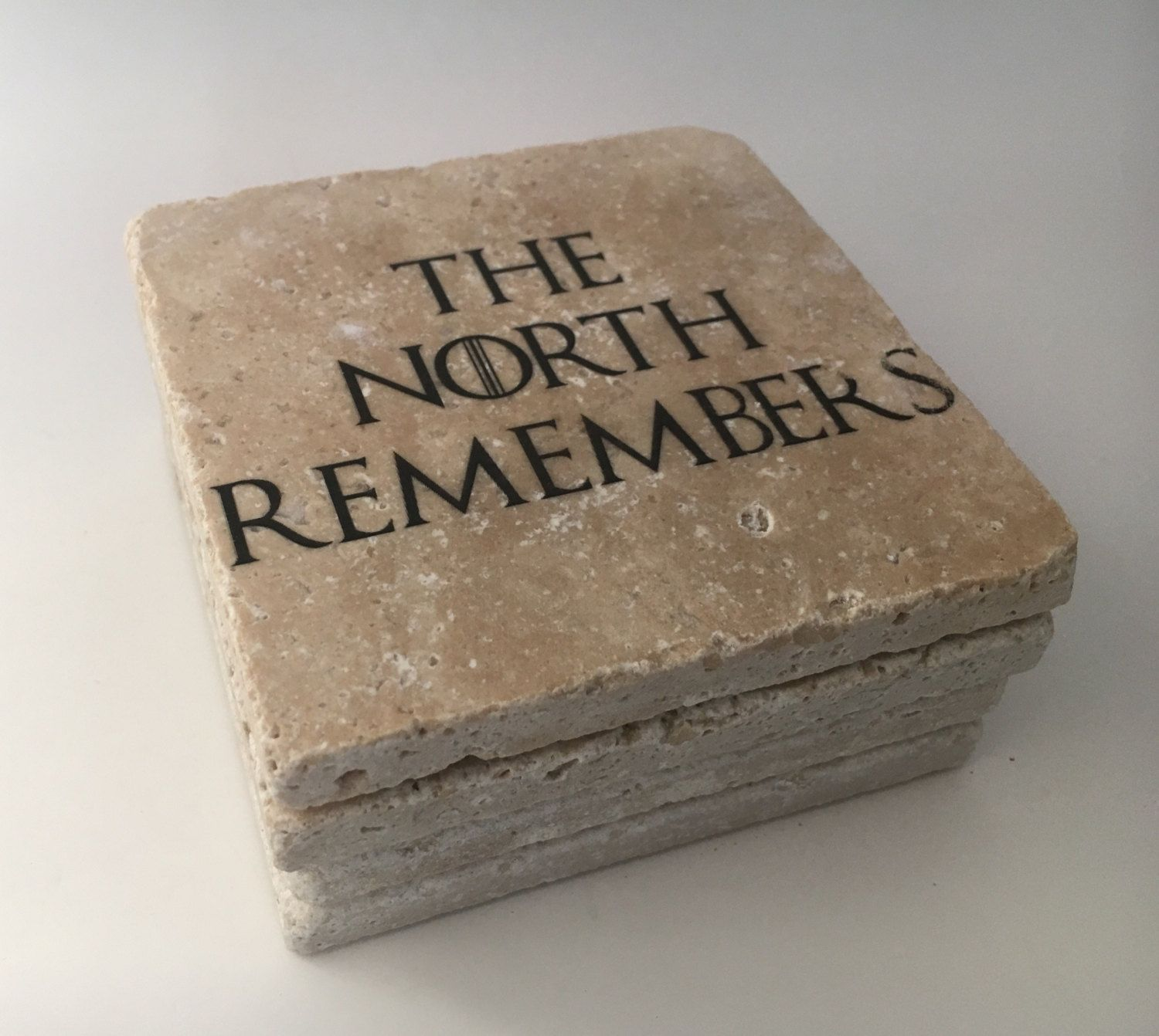 The North Remembers Game Of Thrones Natural Travertine Tile Tumbled - Cork coaster bottoms