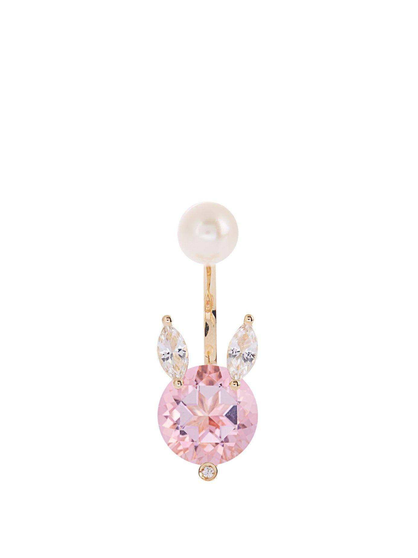 Diamond, topaz, pearl & yellow-gold earring | Delfina Delettrez | MATCHESFASHION.COM