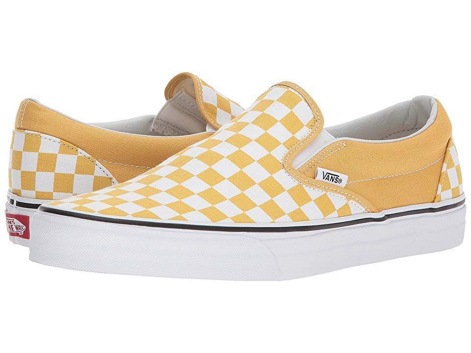5827f1278da483 Vans Classic Slip-Ontm Skate Shoes (Checkerboard) Ochre True White ...