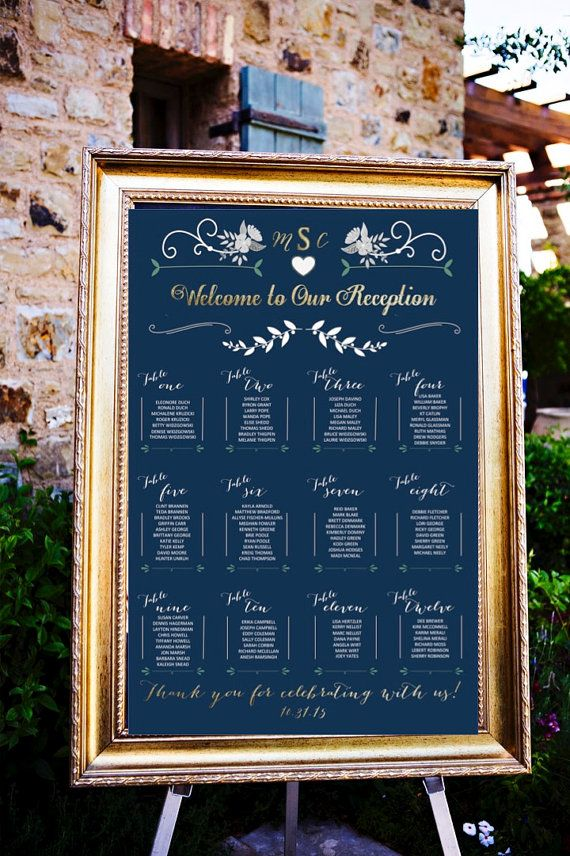Wedding Table Assignments Board Navy Background Seating Chart Poster Place Cards Listings