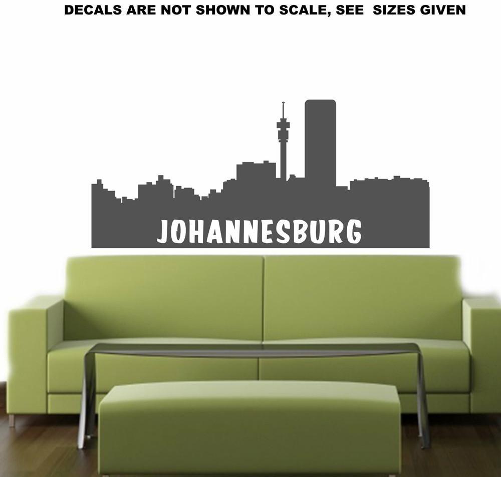Johannesburg Cityscape Skyline Wall Art Sticker Vinyl Decal - Wall decals johannesburg