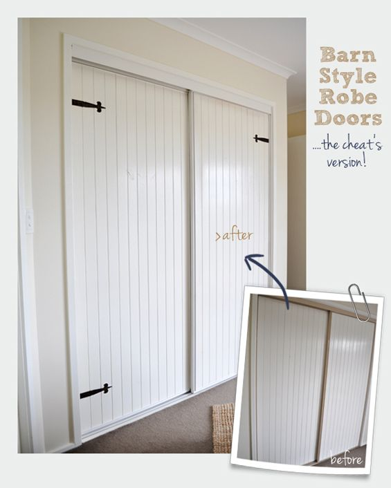 Sliding wardrobe door revamp with dummy strap hinges the for Closet door ideas diy