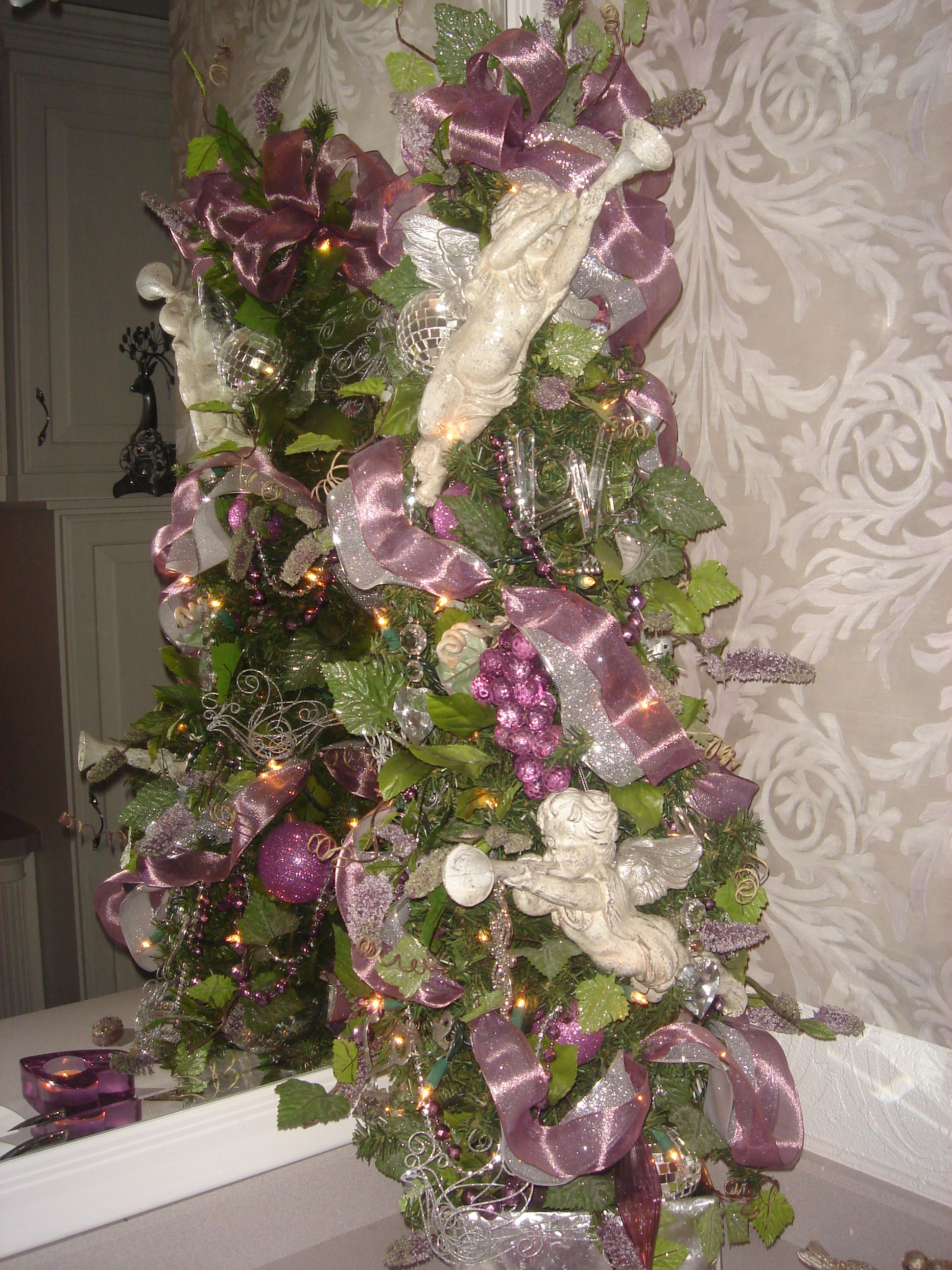 Cherub Christmas tree in colors of purple and silver