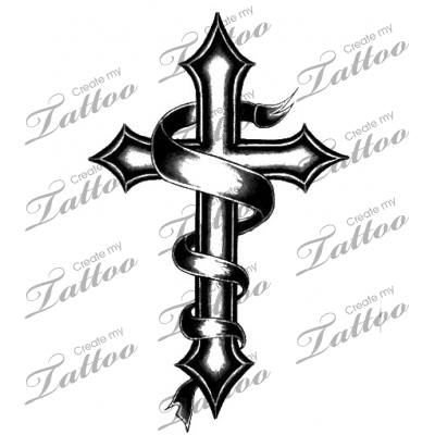 cross tattoos with banners for men