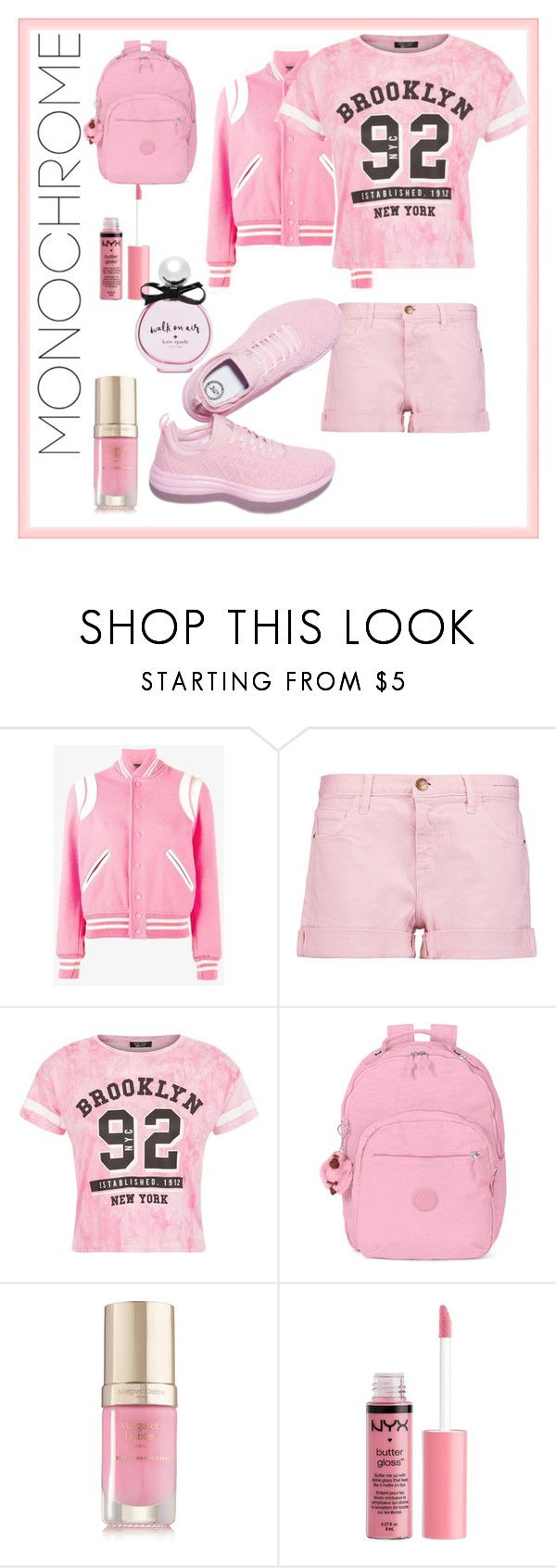 """""""Pretty in Pink"""" by simplyemerald ❤ liked on Polyvore featuring Yves Saint Laurent, Current/Elliott, Kipling, Margaret Dabbs, Charlotte Russe, Kate Spade and monochromepink"""