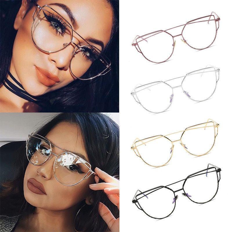 7f471a6802 Women Vintage Cat Eye Clear Lens Glasses Metal Frame Aviator Oversized  Eyewear