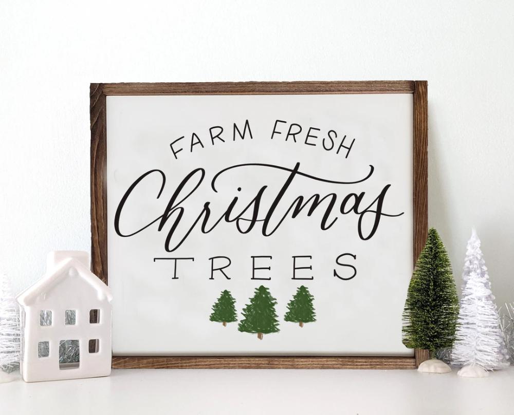 Wooden Farm Fresh Christmas Trees Sign Fresh Christmas Trees Tree Signs Christmas Wall Art
