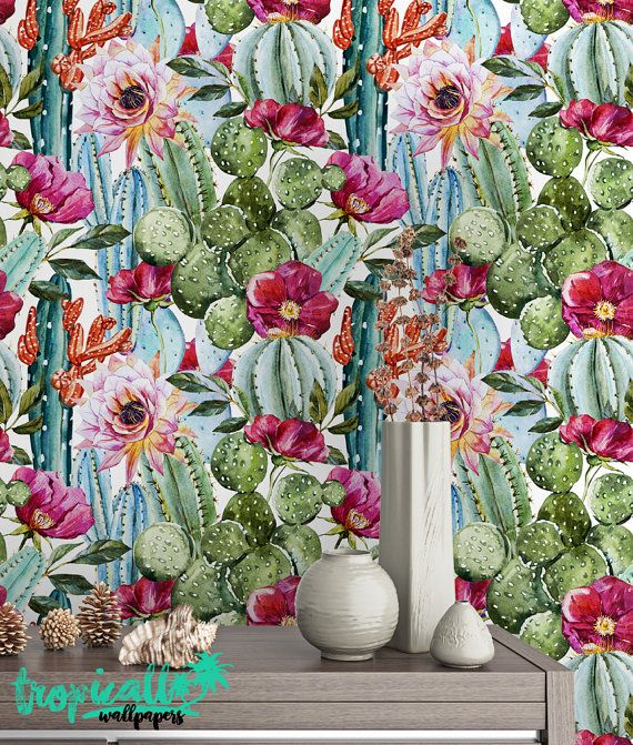 Watercolor Cactus Wallpaper Removable Wallpapers Floral Cactus