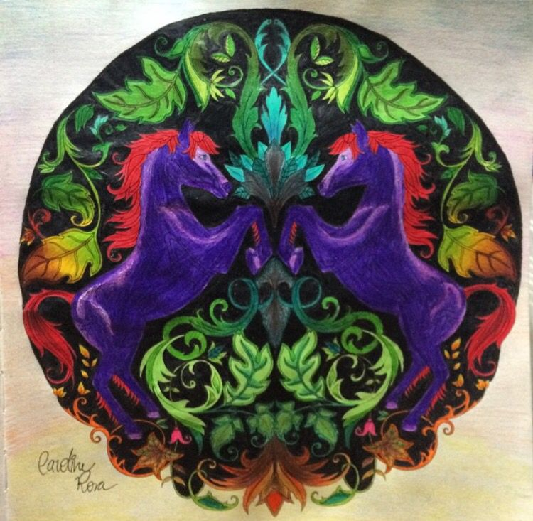 Unicorns Enchanted Forest Unicornios Floresta Encantada Johanna Basford Coloring BooksColouringJohanna