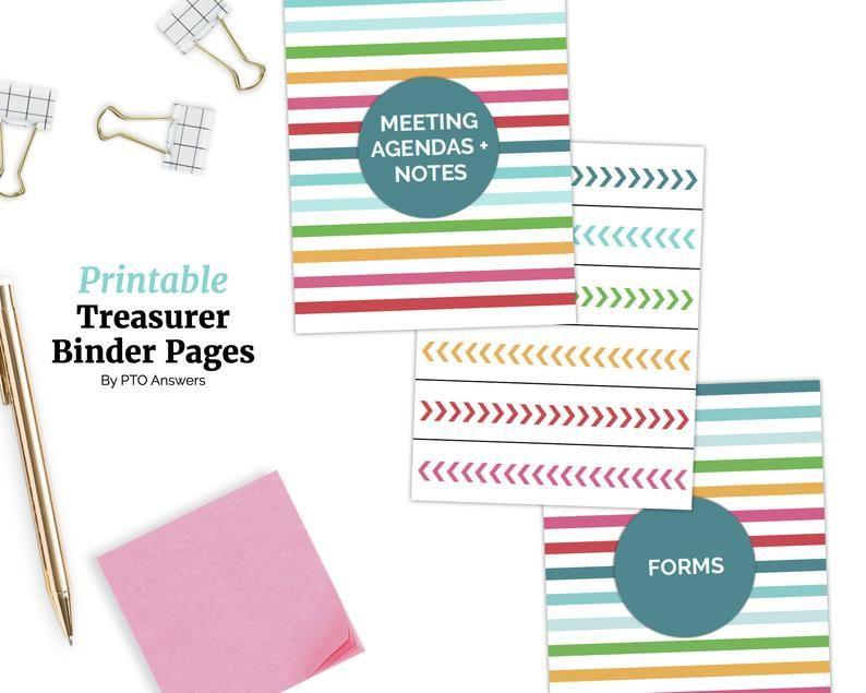 Treasurer Binder Pages for PTA / PTO Officer Printable