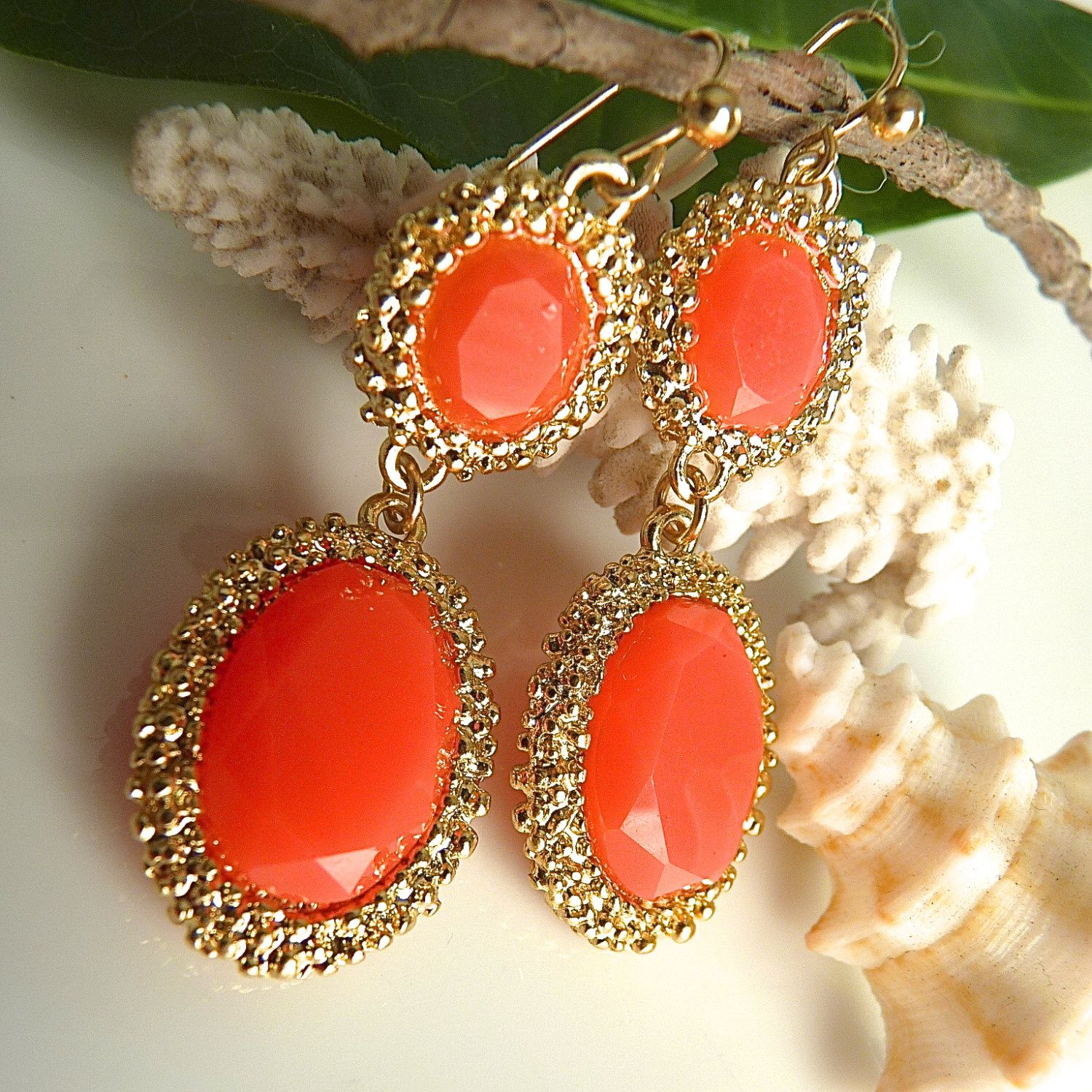 Orange Coral Salmon Oval Dangle Gold Rim Party Earrings Bridesmaid Earring  By Jeweltonejewelry On Etsy