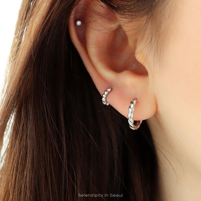 Pair Sterling Silver Hoop Earrings Gold Spiral Earrings Sleepers Small Spiral Earrings