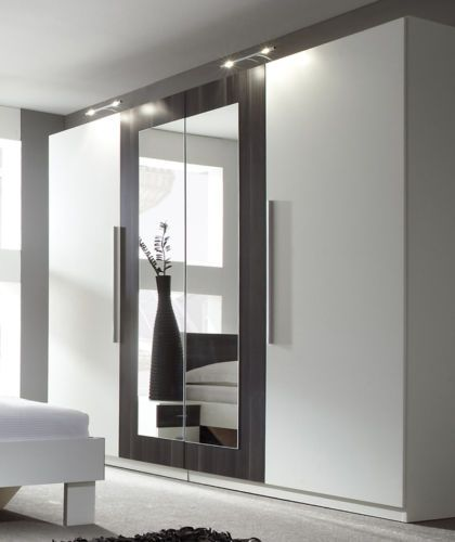 Modern-bedroom-4-doors-wardrobe-closet-with-mirror-white ...