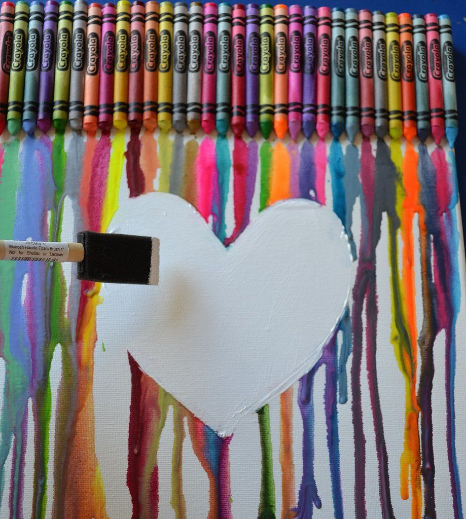 This Fun Melted Crayon Canvas Has A Sweet Little Twist