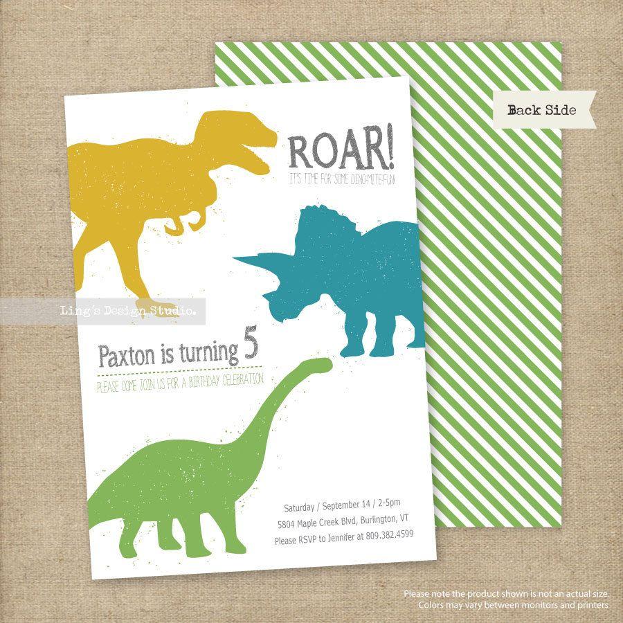 Dinosaurs Birthday Invitations Set Printable by LingsDesignStudio ...
