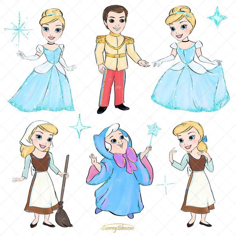 Cinderella Clipart Princess Clip Art Fairytale Clipart Etsy In 2021 Cinderella Clip Art Mermaid Clipart