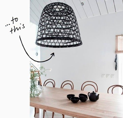 diy une suspension en bambou avec une corbeille ikea inspirations pinterest bambou. Black Bedroom Furniture Sets. Home Design Ideas